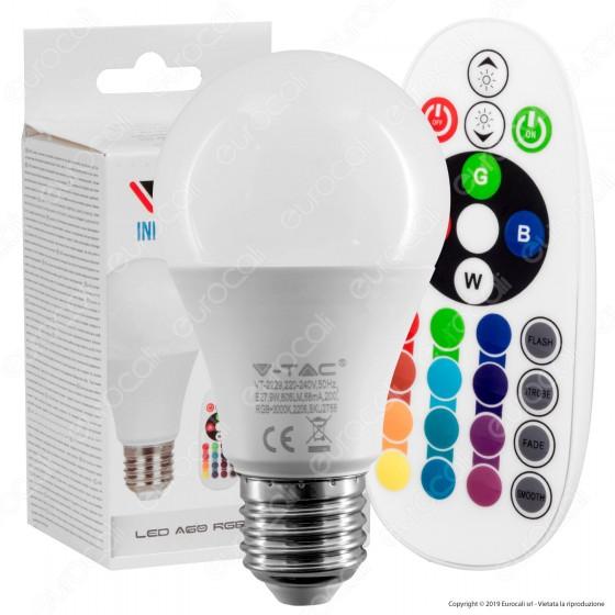 V-Tac VT-2229 Lampadina LED E27 9W Bulb A60 Goccia RGB+W