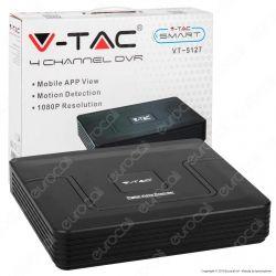 V-Tac VT-5127 Registratore DVR per Telecamere di Sorveglianza 5 in 1 con 4 Canali 1080p - SKU 8476