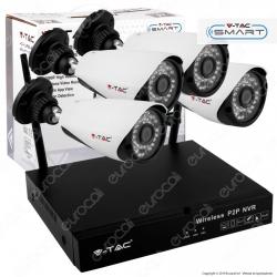 V-Tac VT-5188 Kit Videosorveglianza P2P NVR 4 Canali Wifi 1080p con 4 Telecamere - SKU 8400