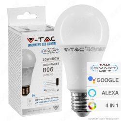 V-Tac Smart VT-5119 Lampadina LED Wi-Fi E27 10W Bulb A60 RGB+W 4in1 Dimmerabile - SKU 2751