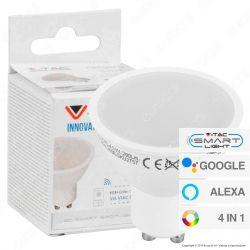 V-Tac Smart VT-5164 Lampadina LED Wi-Fi GU10 4,5W Faretto 110° RGB+W 4in1 Dimmerabile - SKU 2757