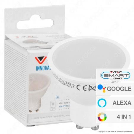 V-Tac Smart VT-5164 Lampadina LED Wi-Fi GU10 4,5W Faretto Spotlight 110° RGB+W 4in1 Dimmerabile - SKU 2757