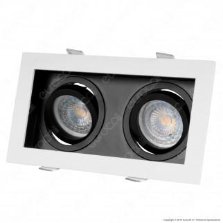 V-Tac VT-886 Portafaretto Orientabile da Incasso per 2 Lampadine GU10 e GU5.3 - SKU 8877
