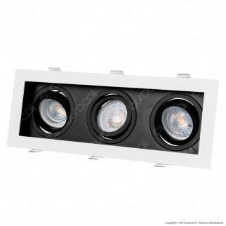 V-Tac VT-887 Portafaretto Orientabile da Incasso per 3 Lampadine GU10 e GU5.3 - SKU 8878