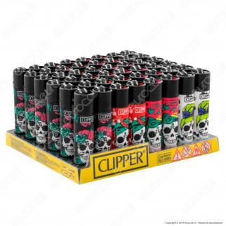 Clipper Large Fantasia Pin Up Skull - Box da 48 Accendini