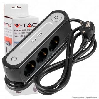 V-Tac VT-1133-2 Multipresa da Tavolo 3 Posti Schuko con 2 USB Colore Nero con Interruttore - SKU 8817