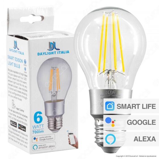Daylight Lampadina LED Wi-Fi E27 6W Bulb A60 Filament Dimmerabile - mod. 552006.00A