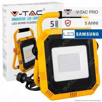 V-Tac PRO VT-51 Faro LED SMD 50W Portatile con Staffa e Cavo di Alimentazione Schuko - SKU 945 / 946