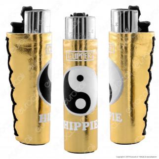 Clipper Large con Rivestimento in Gomma Fantasia Gold Hippie a Scelta - 1 Accendino