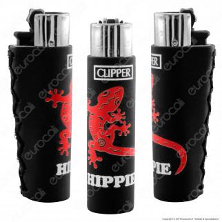 Clipper Large con Rivestimento in Gomma Fantasia Black Hippie a Scelta - 1 Accendino