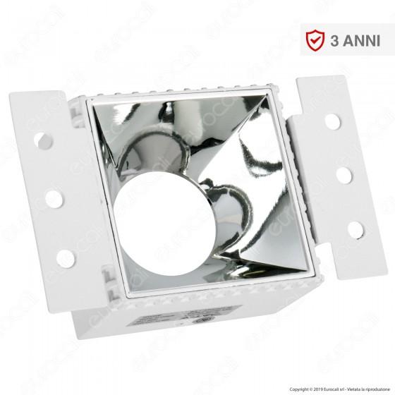 V-Tac VT-890 Portafaretto Quadrato da Incasso con Interno Cromato per Lampadine GU10 e GU5.3 - SKU 8880