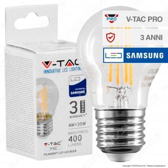 V-Tac PRO VT-244 Lampadina LED Filament E27 4W MiniGlobo G45 Chip Samsung - SKU 280