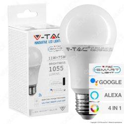 V-Tac Smart VT-5113 Lampadina LED Wi-Fi E27 11W Bulb A60 RGB+W 4in1 Dimmerabile - SKU 2752