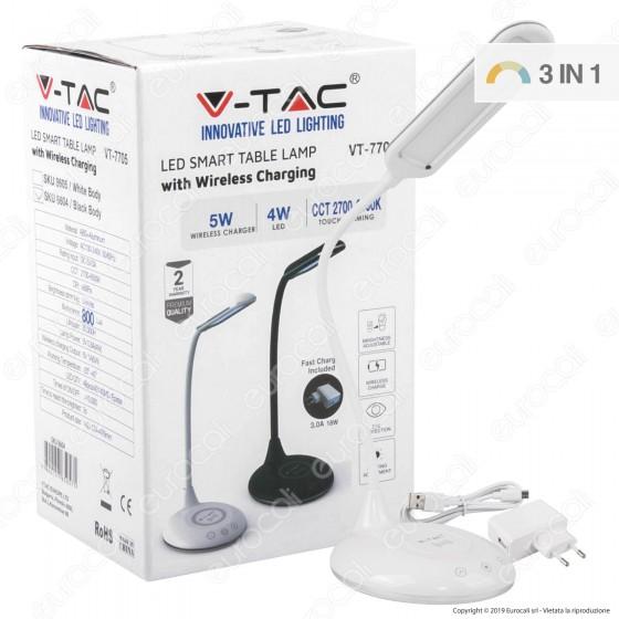 V-Tac VT-7705 Lampada da Tavolo LED 4W Multifunzione con Stazione di Ricarica Wireless Colore Bianco - SKU 8605