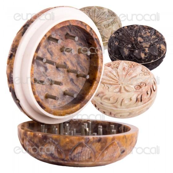 Grinder Tritatabacco Black Leaf Stone 2 Parti in Pietra