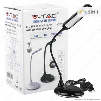 V-Tac VT-7705 Lampada da Tavolo LED 4W Multifunzione con Stazione di Ricarica Wireless Colore Nero - SKU 8604