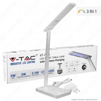 V-Tac VT-7505 Lampada da Tavolo LED 5W Multifunzione con Stazione di Ricarica Wireless Colore Bianco - SKU 8603