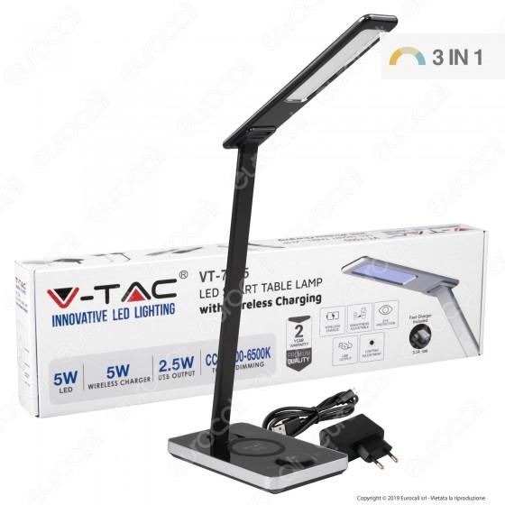 V-Tac VT-7505 Lampada da Tavolo LED 5W Multifunzione con Stazione di Ricarica Wireless Colore Nero - SKU 8602