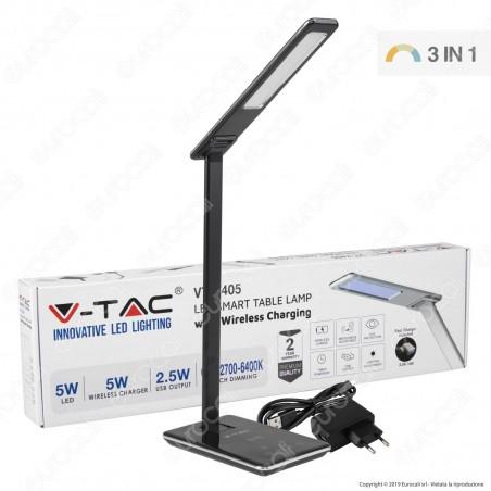 V-Tac VT-7405 Lampada da Tavolo LED 5W Multifunzione con Stazione di Ricarica Wireless Colore Nero - SKU 8600
