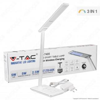 V-Tac VT-7405 Lampada da Tavolo LED 5W Multifunzione con Stazione di Ricarica Wireless Colore Bianco - SKU 8601
