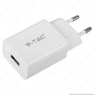 V-Tac VT-5371 Caricabatteria USB da Viaggio con Cavo Micro USB Colore Bianco - SKU 8645