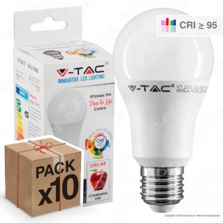 10 Lampadine LED V-Tac VT-2212 E27 12W Bullb A60 CRI ≥95 - Pack Risparmio
