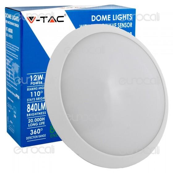 V-Tac VT-8008 Plafoniera LED 12W con Sensore di Movimento a Microonde Colore Bianco