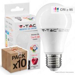 10 Lampadine LED V-Tac VT-2210 E27 10W Bulb A60 CRI ≥95 - Pack Risparmio