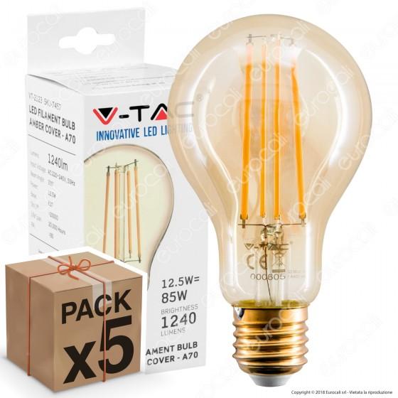 5 Lampadine LED V-Tac VT-2123 E27 12,5W Bulb A70 Filament Ambrata - Pack Risparmio