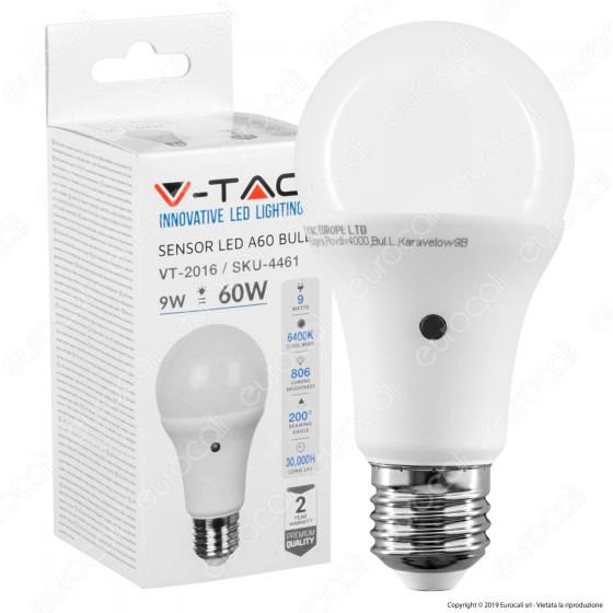 V-Tac VT-2016 Lampadina LED E27 9W Bulb A60 con Sensore Crepuscolare - SKU 4459 / 4460 / 4461