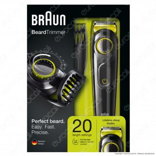 Braun Rasoio Elettrico Regolabarba e Capelli BT3021 senza Fili Colore Nero e Verde