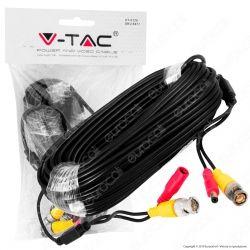 V-Tac VT-5128 Cavo Video BNC con Jack Alimentazione per Telecamere di Sorveglianza Analogiche - SKU 8477