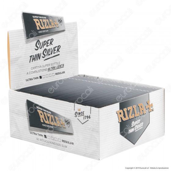Cartine Rizla Silver King Size Slim Lunghe Argento - Scatola da 50 Libretti