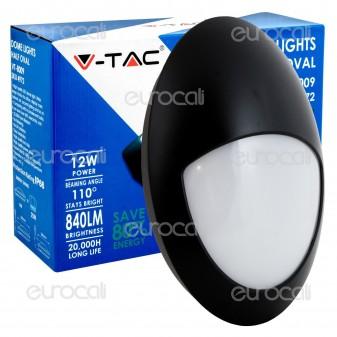 V-Tac VT-8009 Plafoniera LED 12W Forma Ovale con Palpebra Colore Nero - SKU 4972