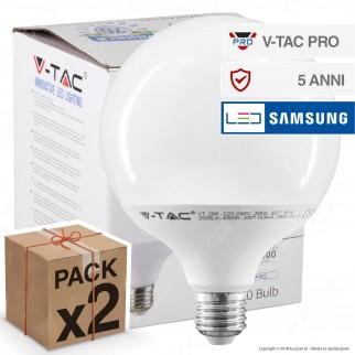2 Lampadine LED V-Tac PRO VT-288 E27 18W Globo G120 Chip Samsung - Pack Risparmio