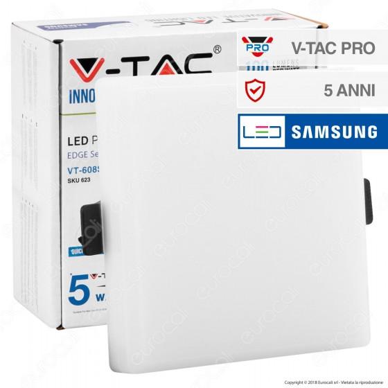V-Tac PRO VT-608SQ Pannello LED Rotondo 8W SMD da Incasso con Driver con Chip Samsung - SKU 623 / 624 / 625