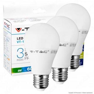 V-Tac VT-1900 Super Saver Pack Confezione 3 Lampadine LED E27 9W Bulb A60 - SKU 7240 / 7241 / 7242