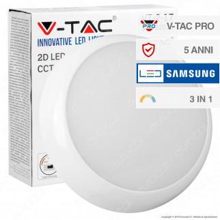 V-Tac PRO VT-2-17 Plafoniera LED 15W Forma Circolare Chip Samsung IP65 3in1 - SKU 20016