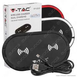V-Tac VT-1213 Caricatore Wireless 5W+5W Ricarica 2 Dispositivi Colore Nero - SKU 7739 / 7740 / 7741