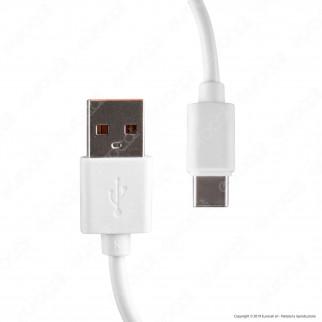 V-Tac VT-5382 Caricabatteria USB da Viaggio con Ricarica Rapida 3A e Cavo USB Type-C Colore Bianco - SKU 8643
