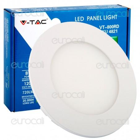 V-Tac VT-800 RD Pannello LED Rotondo 8W SMD5630 da Incasso - SKU 4823 / 4822 / 4821