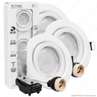 V-Tac VT-3333 Super Saver Pack Confezione 3 Faretti LED GU10 5W con Staffa e Portafaretto Orientabile - SKU 8881 / 8882