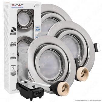 V-Tac VT-4444 Super Saver Pack Confezione 3 Faretti LED GU10 5W con Portafaretti Orientabili - SKU 8884 / 8885 / 8886
