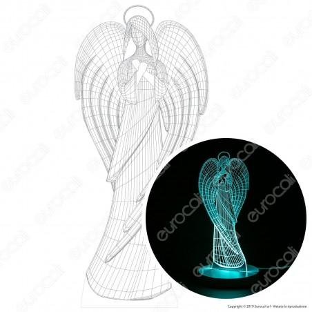 Angelo - Placca in Plexiglass Trasparente Effetto 3D Incisa al Laser Made in Italy