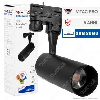 V-Tac PRO VT-418 Track Light LED COB 18W CRI≥90 Colore Nero - SKU 939 / 940