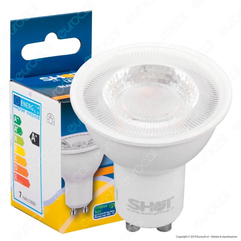 Lampadina led gu10 7w faretto spotlight 60 dimmer bot for Shot bot lighting