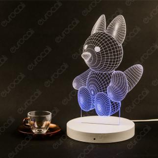 Placca in Plexiglass con Forma Cucciolo di Volpe 3D Incisa al Laser - Made in Italy