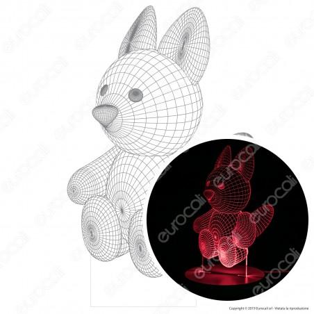 Cucciolo di Volpe - Placca in Plexiglass Trasparente Effetto 3D Incisa al Laser Made in Italy