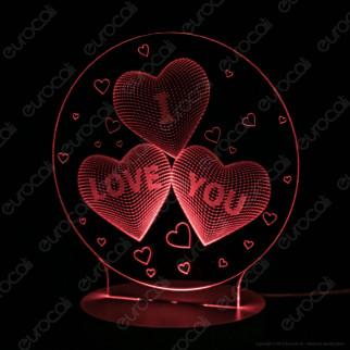 Placca in Plexiglass con Forma I Love You 3D Incisa al Laser - Made in Italy