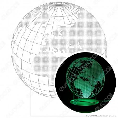 Mappamondo - Placca in Plexiglass Trasparente Effetto 3D Incisa al Laser Made in Italy